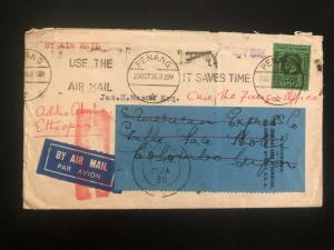 1935 Penang Straits Settlements Malaya Airmail cover to Addis Ababa Ethiopia