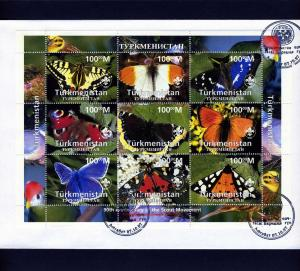 Turkmenistan 1997 BUTTERFLIES SCOUT Anniversary Sheet Perforated in official FDC