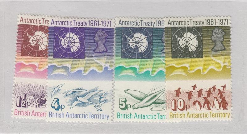 BRITISH ANTARCTIC TERRITORY # 39-44 VF-MLH MAP OF ANTARCTICA & EXPLORERS CV $53