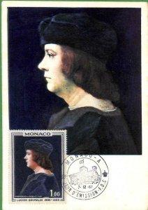 90238 - MONACO - Postal History - MAXIMUM CARD -  ART Royalty 1967