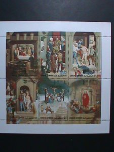 UMM AL QIWAIN -AIRMAIL STAMP THE PASSION OF CHRIST BY HANS MEMLING-MNH SHEET
