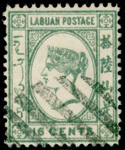 LABUAN SG46, 16c grey, USED. Cat £18.