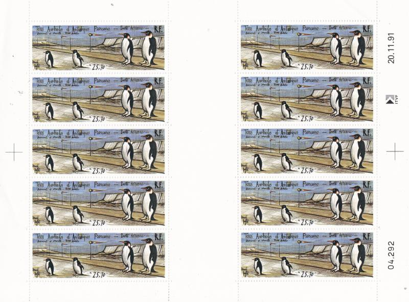 French Southern & Antarctic Terr.1992  Airmail Sheet. Penguins d'Urville Base NH