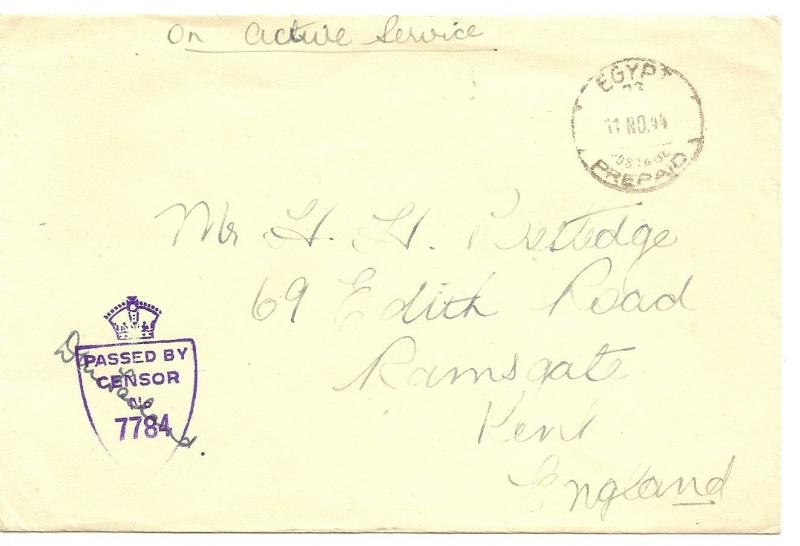 Egypt 1944 Prepaid Censored Cover to UK