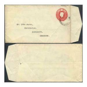 EP75 KGVI 1d Carmine Envelope Stamp 43 Size G Used