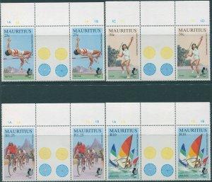 Mauritius 1985 SG704-707 Islands Games gutter pairs set MNH