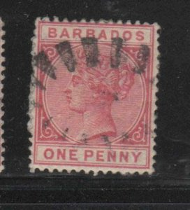 BARBADOS #61  1882  1p   QUEEN VICTORIA    F-VF  USED   h