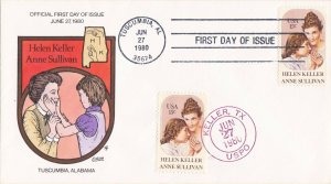 COLLINS HAND PAINTED FDC Sc# 1824 Helen Keller 1980 First Day Issue Cover