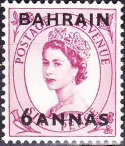 BAHRAIN 1954 QEII 6a on 6d Reddish-Purple SG87 MNH