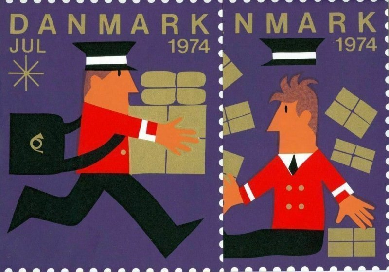 Denmark  Christmas Seal 1974.  2 Post Advertising.Store-Display-Sign. Mailman