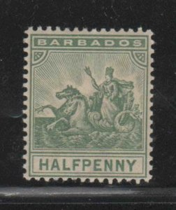 BARBADOS #70  1896  1f     BADGE OF THE COLONY  MINT  F-VF  NH  O.G  cc