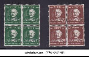 IRELAND - 1943 SIR ROWAN HAMILTON SCOTT#126-127 BLK OF 4 2V MNH