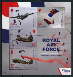 Montserrat 2018 MNH Royal Air Force RAF 100th 4v M/S Helicopters Aviation Stamps