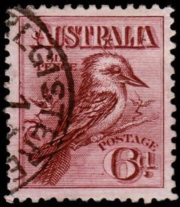Australia Scott 18, Perf. 11, Lake Brown (1914) Used F-VF, CV $62.50 M