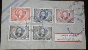 O) 1950 PARAGUAY, FRANKLIN D. ROOSEVELT, SCT C184-C188, TO USA