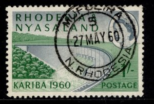 RHODESIA & NYASALAND QEII SG34, 1s slate-blue & green, VERY FINE USED. CDS