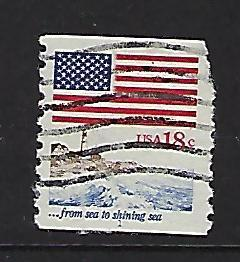 Catalog #1891 P#1 Used Plate Number Coil SCV 2.50 from sea to shining sea Flag