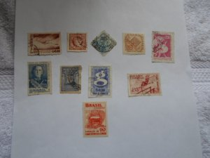 BRAZIL STAMPS. LOT OF 10. MIXED CON. #24