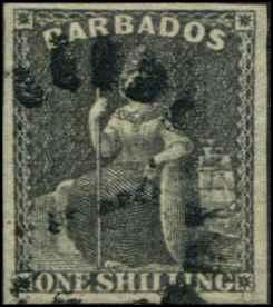 Barbados SC#9 Britannia, 1shilling, black, Imperf Used SCV $85.00