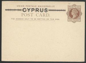 CYPRUS QV 1d postcard overprinted on GB - fine unused......................49411