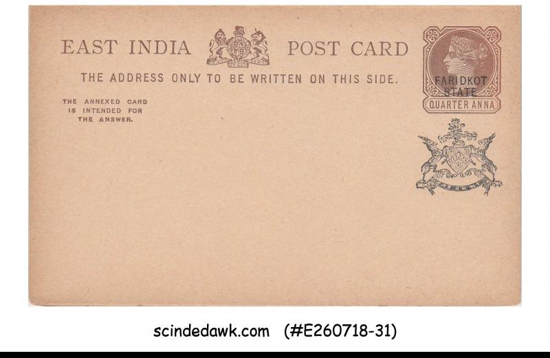 FARIDKOT STATE - 1/4a QV EAST INDIA REPLY POSTCARD - MINT