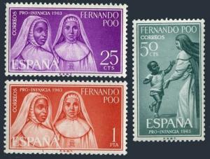 Fernando Po 204-206,MNH.Michel 211-213. Child welfare 1963:Nun,Child.