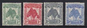 BC863) Gilbert & Ellice Islands 1911 KGV Pandanus Pine Set SG8-11 MH