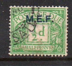Great Britain M E F Sc J1 1942 1/2d postage due stamp used M E F overprint