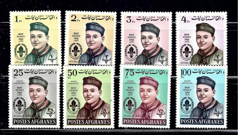 Afghanistan 623-26 and C32-35 MNH 1962 Boy Scouts