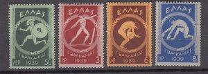 J27330  1939 greece mh set  #421-4 sports