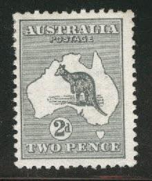 Australia Scott 3 MH* Kangaroo & Map 1913
