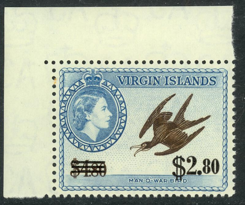 BRITISH VIRGIN ISLANDS 1962 $2.80 on $4.80 BIRD Surcharge Issue Sc 139 MNH