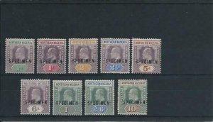 NORTHERN NIGERIA 1902 SET OF NINE OVERPRINTED SPECIMEN MM SG 10s/18s CAT £170