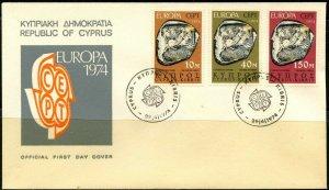 CYPRUS Sc#416-418 FDC 1974 Europa CEPT Complete Set VF