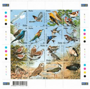 Malta 1055 MNH Sheet of 16 Birds (SCV $11.50)