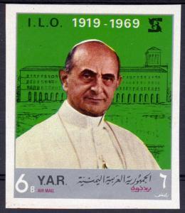 Yemen 1969 Mi#920 POPE SAINT PAUL VI visit  I.L.O (UN) Set IMPERF.MNH
