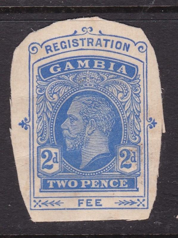 Gambia George V 2d Registration Fee postal stationary Cutout  VFU VFG