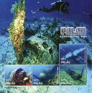 Palau Military Stamps 2016 MNH WWII WW2 Jake Float Plane Wrecks Aviation 4v M/S
