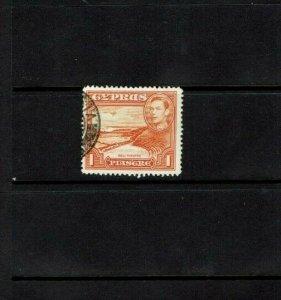 Ceylon: 1938, King George VI definitive, 1 Piastre, Perf 13.5 x 12.5 Used.
