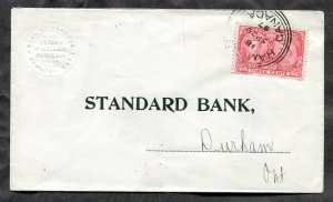 p943 - HAMILTON 1897 Jubilee 3c on Bank Cover to Durham