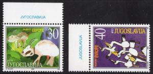 Yugoslavia   #2495-2496  2000  MNH  joy in Europe meeting goats   storks