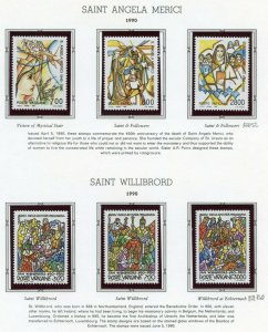 VATICAN CITY 1990  COMPLETE YEAR SET STAMPS MINT NH ON WHITE ACE ALBUM PAGES