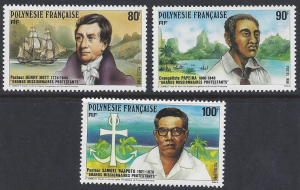 French Polynesia #498-500, MNH set, protestant missionaries, issued 1988