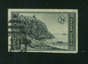 US 1935 7c black Acadia Imperf Special Printing, Scott 762 used, Value = $1.40