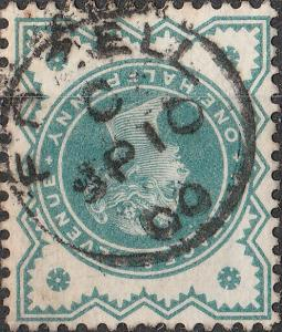 GB - QV - SG213 1/2d dull green used EDZELL / C (Scotland) thimble date stamp