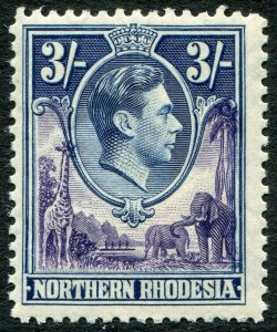 NORTHERN RHODESIA-1938-52 3/- Violet & Blue Sg 42 UNMOUNTED MINT V48291