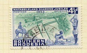 Southern Rhodesia 1953 Early Issue Fine Used 4.5d. NW-14425