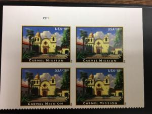 4650 Carmel Mission    Plate Block Of 4.  MNH