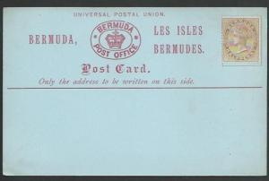 BERMUDA QV formular postcard with ½d adhesive, unused, scarce..............56913