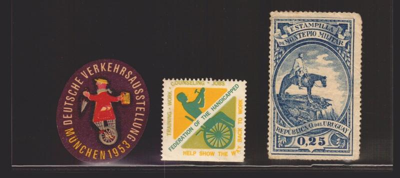 URUGUAY GERMANY CIRCUS BIKE HANDICAPED HORSE MILITARY REVENUE POSTER STAMPS  ETC
